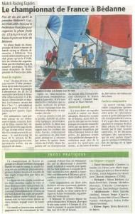 Le championnat de France match racing espoir à Bédanne