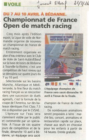 Annonce du Championnat de France de Match Racing Open 2016