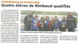 L'équipe de la section sportive scolaire d'Arthur Rimbaud sélectionnée au championnat de France UNSS