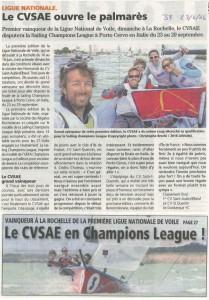LE CVSAE ouvre le palmarès de la Champion League