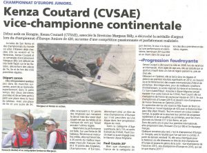 Kenza Coutard, vice championne d'Europe junior