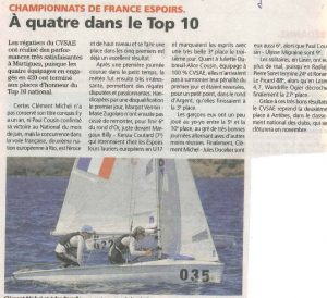 4 équipages du CVSAE dans le top 10 des championnats de France espoir